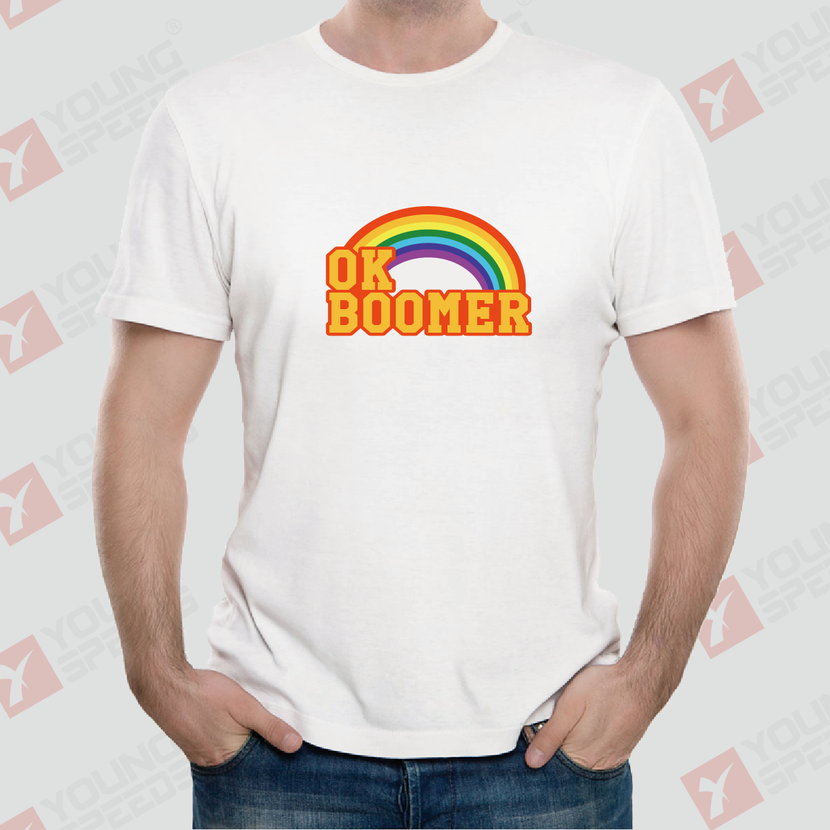 Original Rainbow OK BOOMER Unisex T-Shirts Made in USA - YoungSpeeds