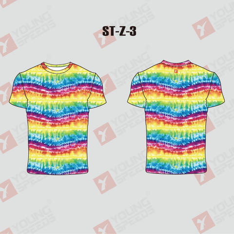 Unisex Sublimated Rainbow Tie-Dye T Shirts - YoungSpeeds
