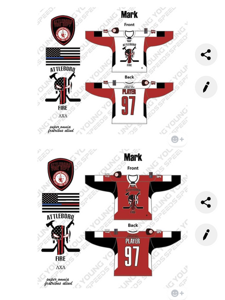 Attleboro Fire Hockey jersey- Mark Renker - YoungSpeeds