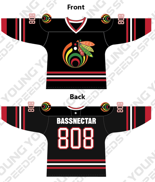 Custom Bassnectar Blackhawks Hockey Jersey - YoungSpeeds