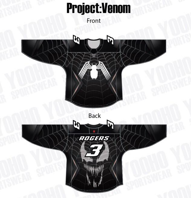 Venom themed Custom Sublimated Hockey Jersey - YoungSpeeds