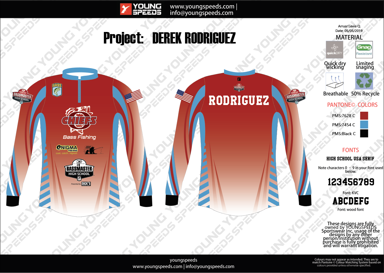 Chiefs Bass Fishing Custom Sublimated Tournament Fishing Jerseys - Derek Rodriguez - YoungSpeeds