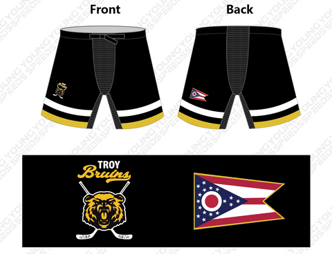 Troy Bruins Embroidered Custom Hockey Pant Shells - YoungSpeeds