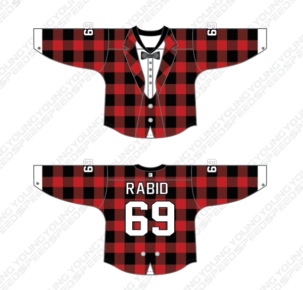 Lumberjack Plaid Sublimated Custom Hockey Goalie Jersey - RABID - YoungSpeeds