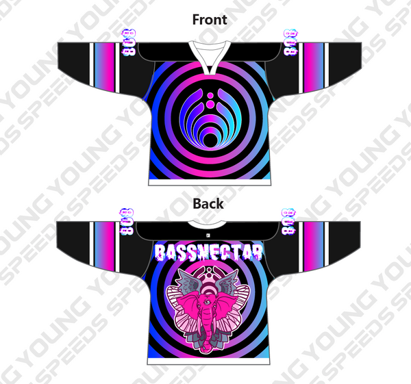 Pink Elephant Colored Ring Sublimated Custom Bassnectar Hockey Jersey - YoungSpeeds