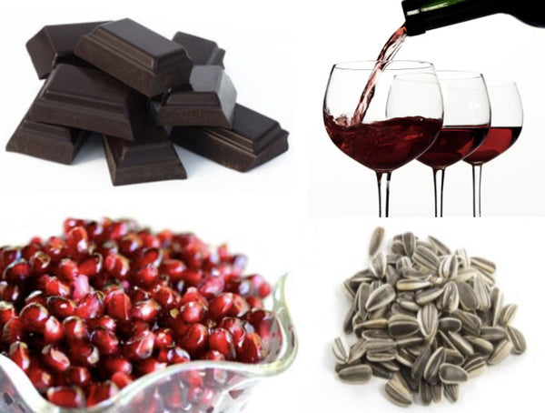 chocolates-sunflowers-seeds-wine-and-pomegranate-are-full-of-vitamin-d-and-good-for-skin-care