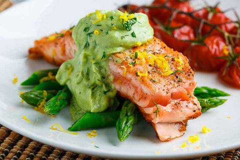 Seared-Salmon-in-Dill-Avocado-for-vitamin-d-skin-care
