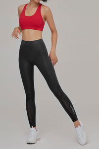 High Waist Mesh Trim Leggings - Luminora