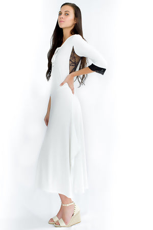 beautiful-girl-walking-uv-protective-white-Capri-Maxi-Dress-white-background-side-view