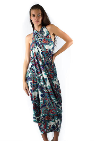 long-hair-brunette-young-woman-wearing-uv-protective-paisley-patterned-salerno-wrap-dress-standing-under-the-sun-in-summer-front-view