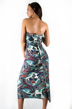 long-hair-brunette-young-woman-wearing-uv-protective-paisley-patterned-salerno-wrap-dress-standing-under-the-sun-in-summer-back-view
