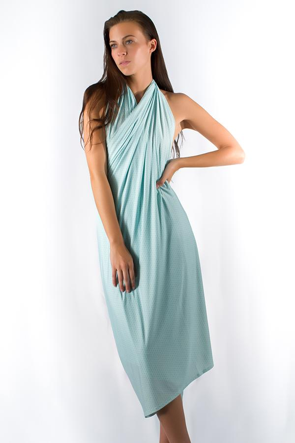 brunette-young-woman-wearing-uv-protective-aqua-color-salerno-wrap-dress-standing-under-the-sun-in-summer-front-view