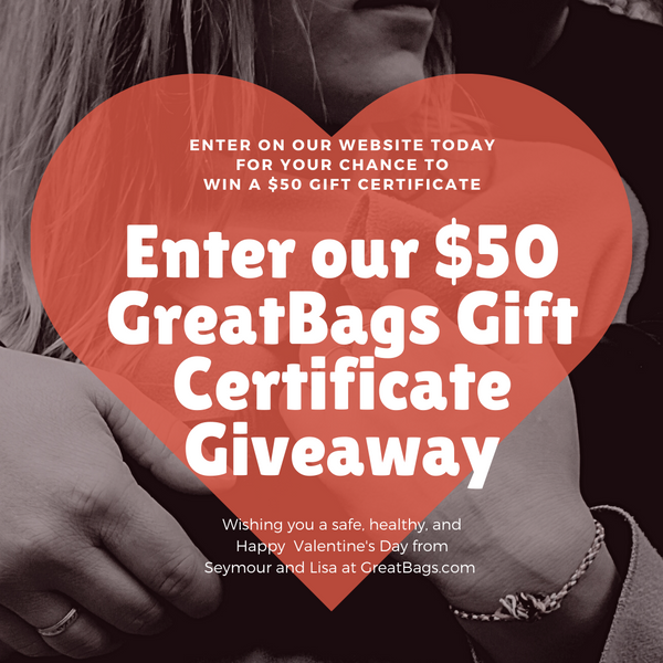 Enter Our $50 Valentine's Gift Certificate Give-away at GreatBags.com