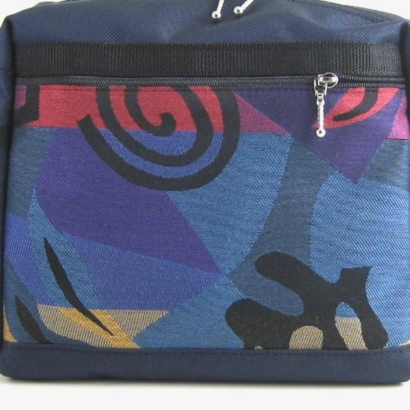 224  Extra Large French Satchel Tote in Navy with Fabric accents