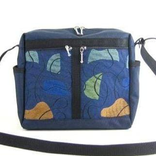 106 Medium Messenger Bag Purse in Navy Nylon with Fabric Accent Pockets