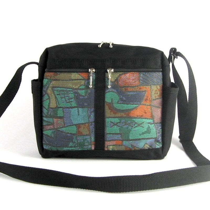106 Medium Messenger Bag Purse in Black Nylon with Fabric Accent Pockets