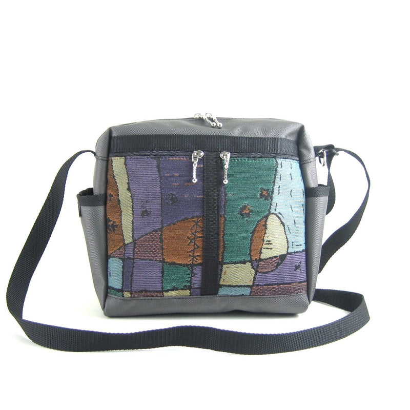 106 Medium Messenger Bag Purse in Gray Nylon with Fabric Accent Pockets
