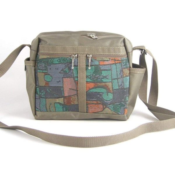 106 Medium Messenger Bag Purse in Khaki Nylon with Fabric Accent Pockets