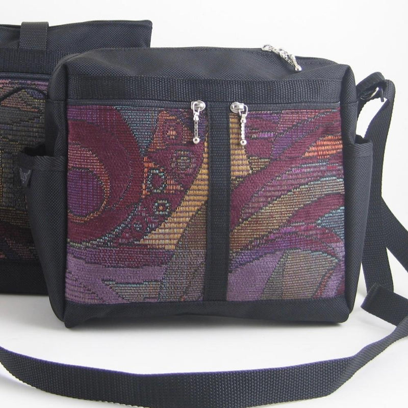 Vintage Fabrics 106 Medium Messenger Bag Purse in Black Nylon