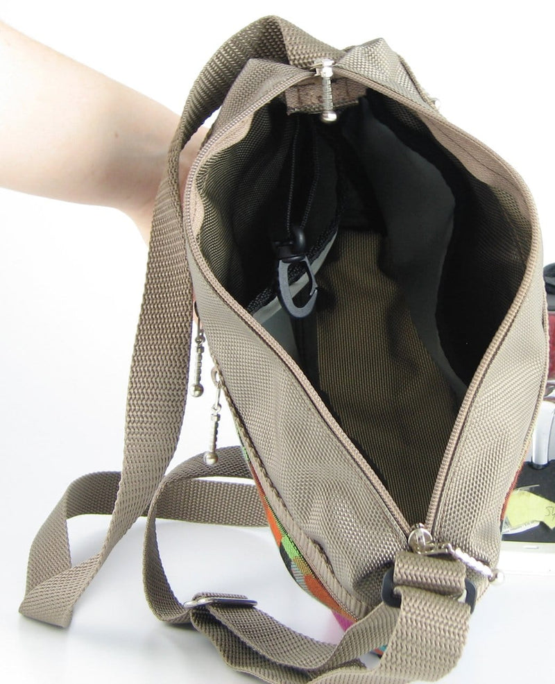 221L small organizer purse in Khaki Tan Nylon with fabric accent pockets