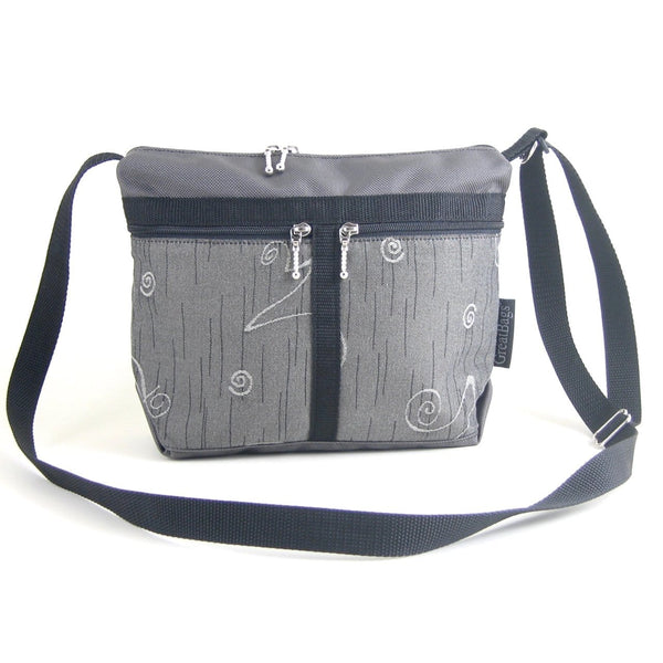222L organizer purse in Gray Nylon with fabric accent pockets