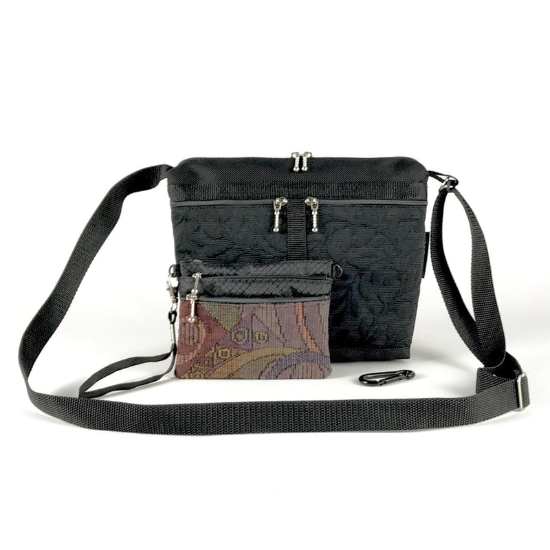 Gift Set - Black 221L Small Organizer Cross-body Purse with Bonus 3 zipper Accessory