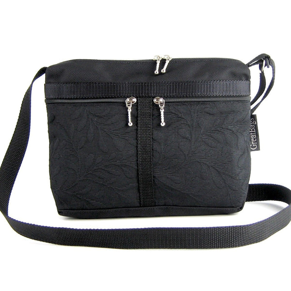 221L small organizer purse in Black Nylon with fabric accent pockets