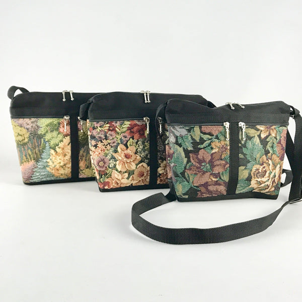 221L Vintage Tapestry Fabric Small Organizer Purse- Black Nylon