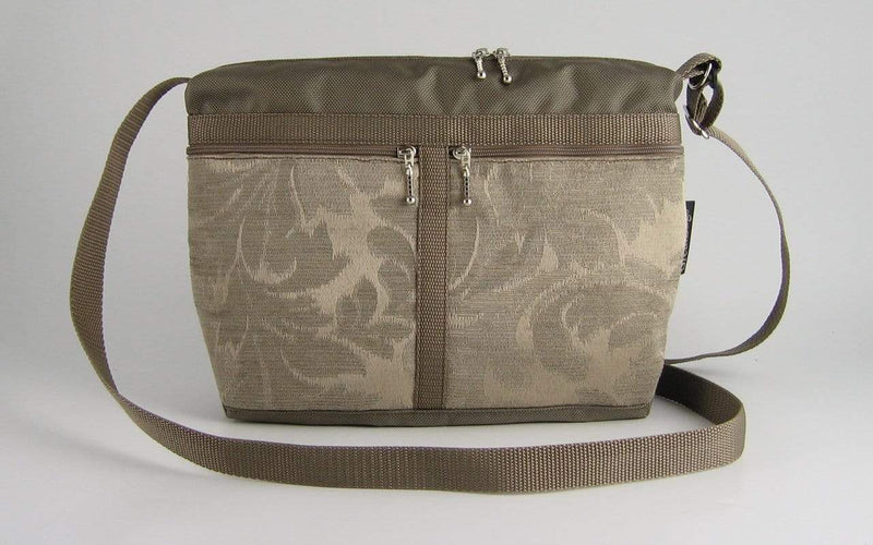 222L organizer purse in Khaki Tan Nylon with fabric accent pockets