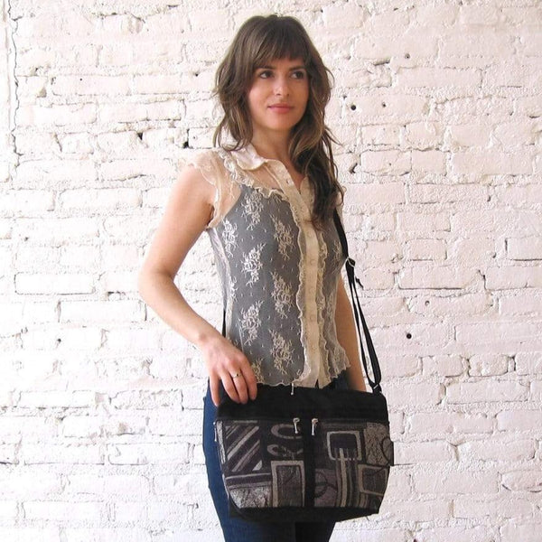 222L Vintage Fabric and Nylon Cross-body Organizer Purse