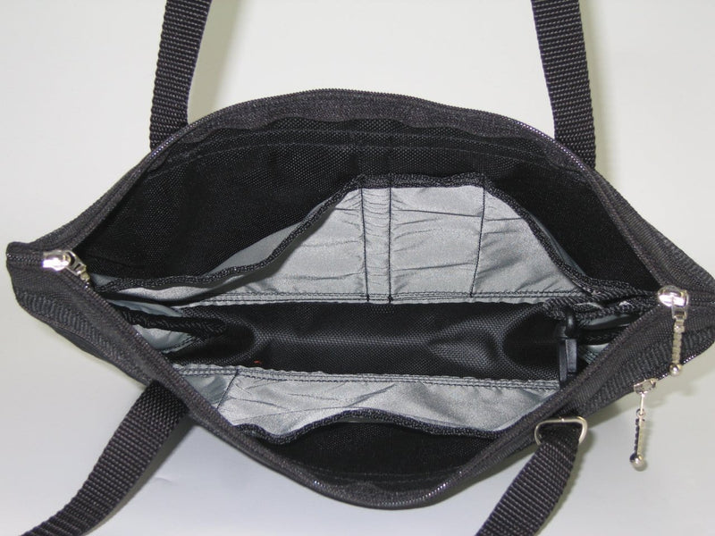 222 medium tote in black nylon with fabric accent pockets
