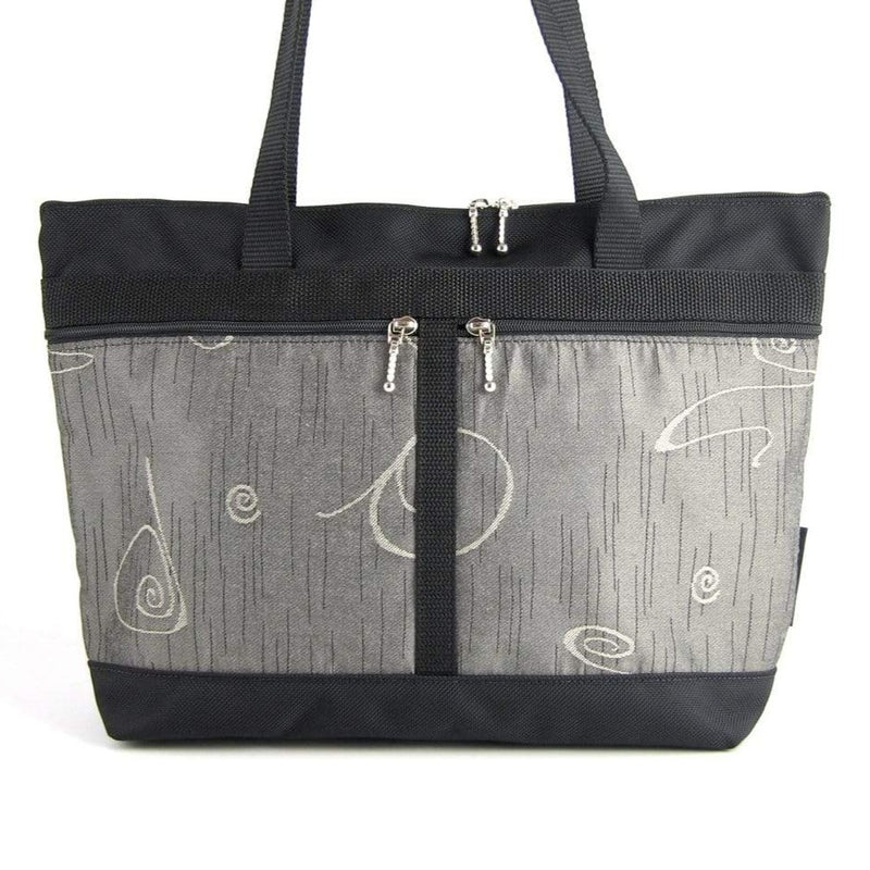 223 French Satchel Tote in  Black nylon with accent pockets