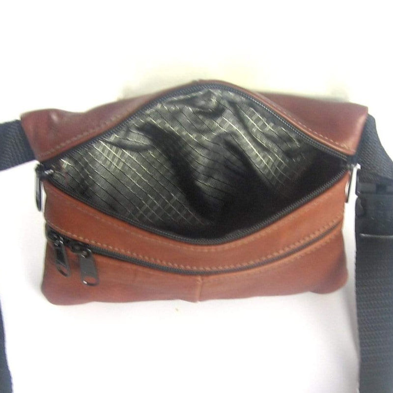 Small Leather Flat Fanny Pack With Contrast Accent Leathers - #301J