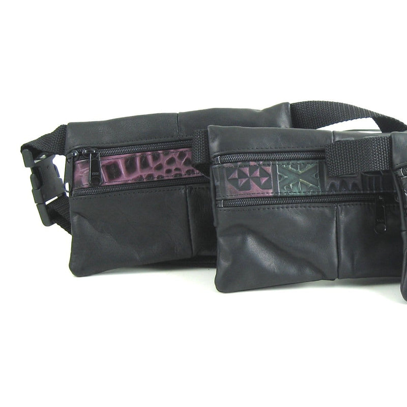 Leather flat fanny pack with contrast accent leathers