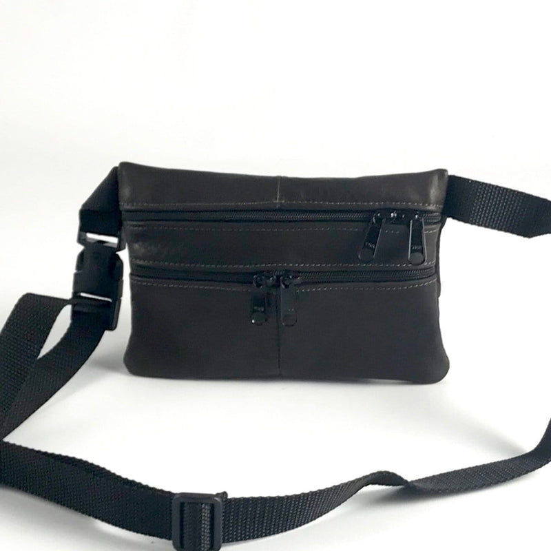 Leather flat fannypack in solid colors
