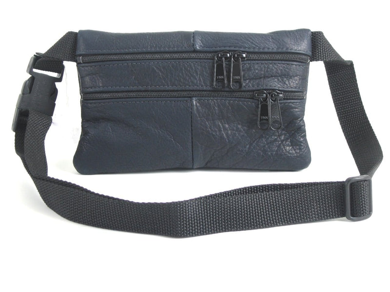 Leather flat fanny pack in solid colors