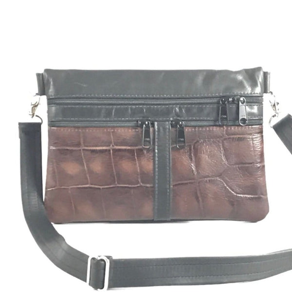 309  Large Convertible Leather Flat Fanny Pack