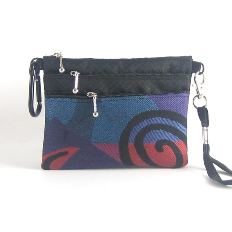39R Three zipper organizer wristlet with carabiner clip