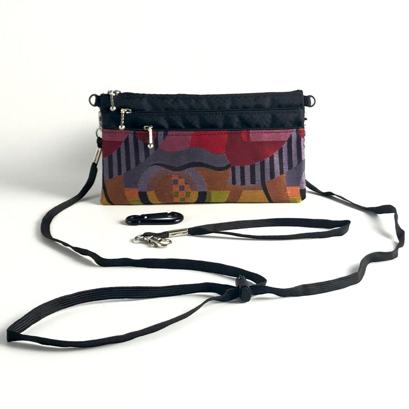 New! Wider Size Three zipper Minibag #59RS with cordlock shoulder strap