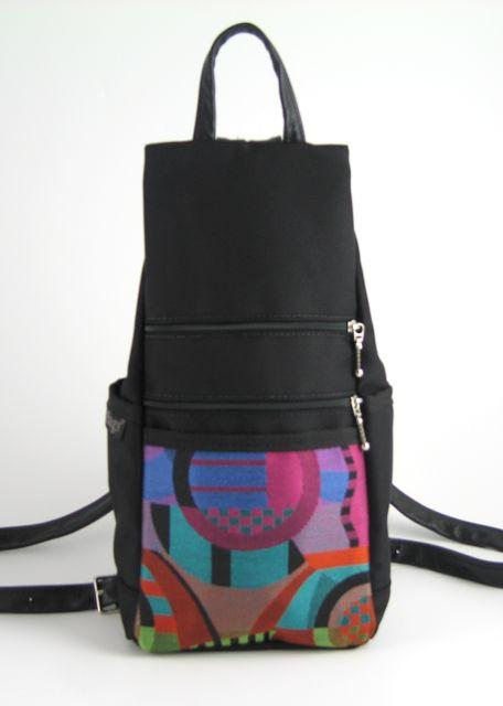 727-BL Small Back Entry Backpack in Black Nylon with Fabric Accent