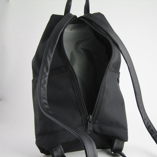 767-BL Large Back Entry Backpack in Black Nylon with Fabric Accent