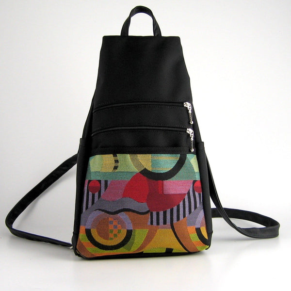 747-BL Medium Back Entry Backpack in Black Nylon with Fabric Accent