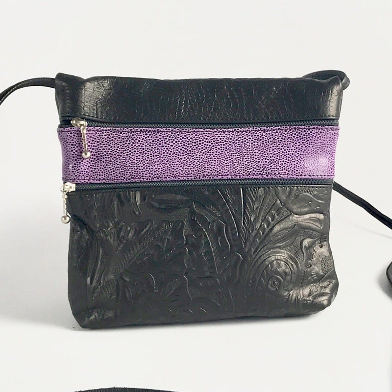 Wide 2 zipper Leather Crossbody Travel Purse #86