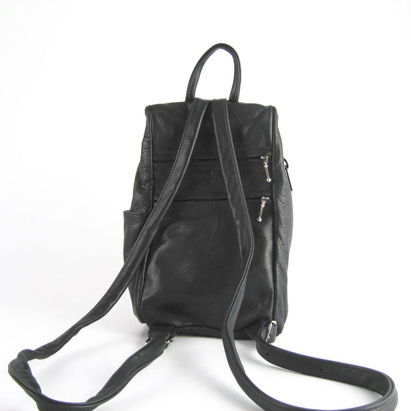 966J Size Small Leather Side Entry Backpack With Accent Pocket