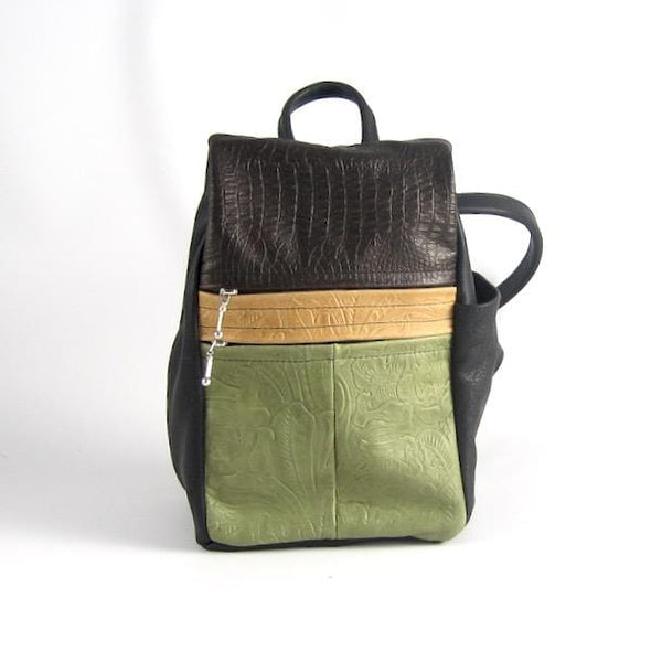 967 Purse size Leather Side Entry Backpack - Custom Color Combinations