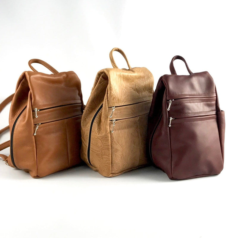 967  Purse size Leather Side Entry Backpack - Solid Colors
