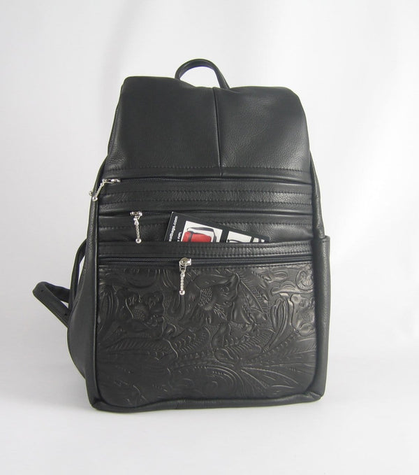 968JW Deluxe Medium Side Entry Leather Backpack with Leather Accent pocket