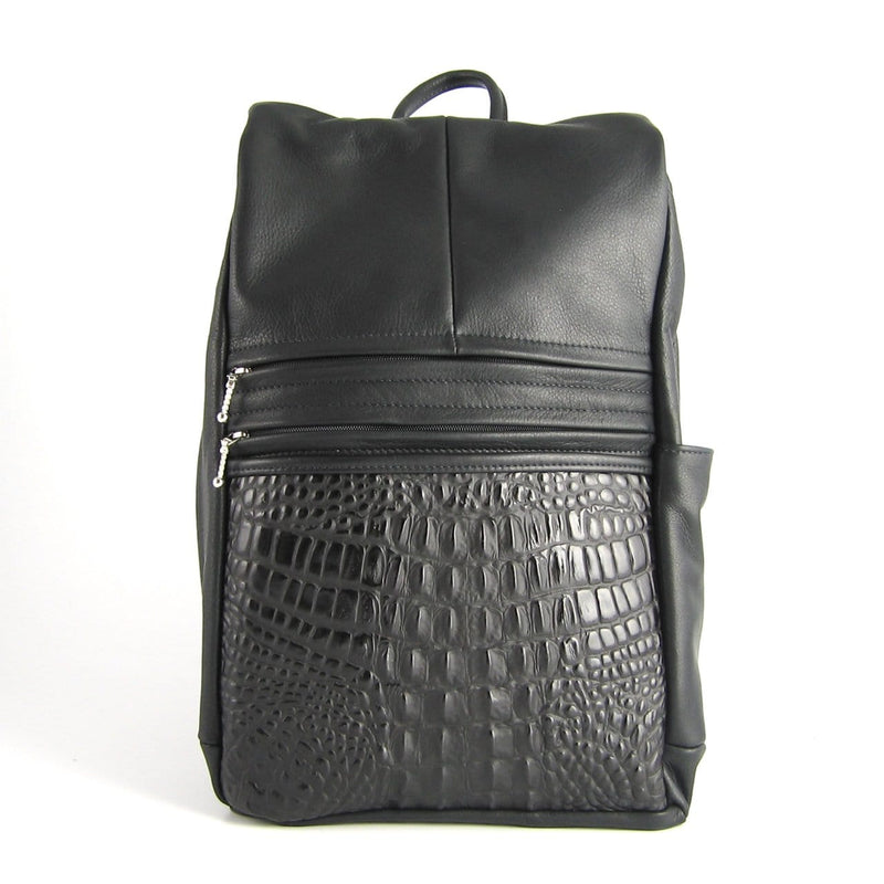 969J Legal Size Large Side Entry Leather Backpack with Leather Accent pocket