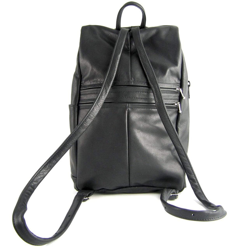 968J Book Size Medium Side Entry Leather Backpack with Leather Accent pocket