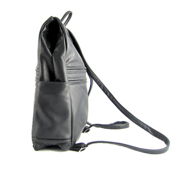 968 Book Size Side Entry Leather Backpack in solid colors
